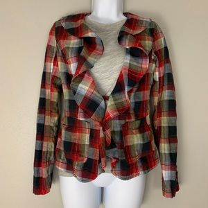 Free People Red Plaid Ruffle Flannel Blazer 0 A2